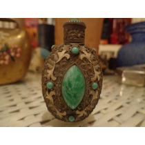 Finisimo Y Antiguo Perfumero En Cristal,bronce Y Piedras