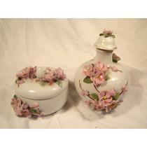 2 Potiches Frascos De Porcelana Con Flores