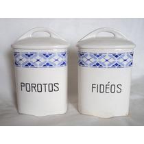 Antiguos Tarros De Porcelana Para Fideos Y Porotos