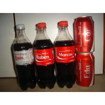 Botella Y Latas Coca Cola Llena Nombres Fernando Marcos Luis