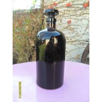 Antiguo Frasco Farmacia Color Ambar Oscuro Tapón Esmerilado