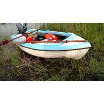 Bote Lagunero Sólo Casco Con Deck De Madera Y Remos Madera
