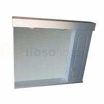 Espejo Baño Botiquin Peinador Laqueado Luz Grande 80 X 70