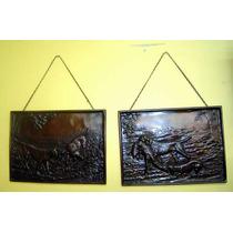 Hermoso Par De Placas Estatuas De Bronce Motivo Caceria