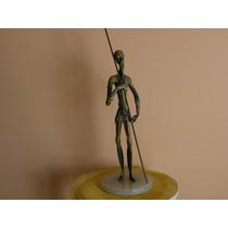 Escultura De Bronce Macizo Con Base De Marmol