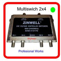 Multiswich Zinwell 2x4 Profesional Works Fta Skyfreetv