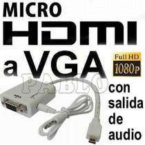 Cable Conversor Micro Hdmi A Vga C/ Audio - Playbook A Lcd