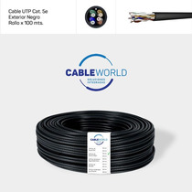 Cable Utp Cat. 5e Exterior Negro - Rollo X 100 Mts