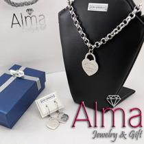 Conjunto Collar Y Aros Corazón Tiffany Acero Quirurgico 316l