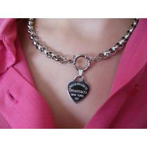 Collar Y Pulsera Tiffany Acero Cadena 9mm Cierre Marinero