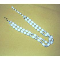 M46 Collar Aleman Piedras Blancas Con Aros En Dorado