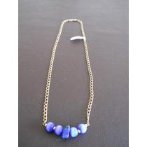 Cadena Collar Laminado Oro 14-gold Filled Con Piedras Azul