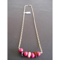 Cadena Collar Laminado Oro 14 - Gold Filled Con Piedras Roja