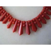 Art Deco Collar De Coral Talla ~geometrica 1920