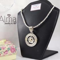 Hermosa Cadena Collar Con Dije Flor Plata 925 Y Oro 18k