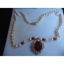 Regale Collar De Perlas Cultivadas , 57 Perlas Y Piedra Jade