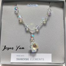 Collar Denario Cristal Y Dije Swarovski Element Y Plata 925