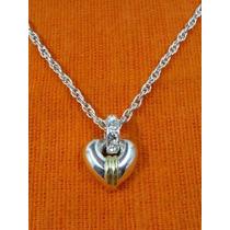 Colgante Corazón Plata 925, Cristales Swarovski Y Oro 18 Klt