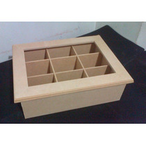Cajas De Te Vidrio X 9 Div. Fibrofacil Artesania Decorar