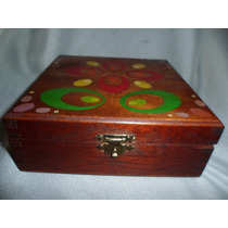 265- Antigua Caja De Madera Alhajero Despojador Decorada