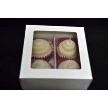 Caja De Cartulina Blanca Para 4 Cupcake O 6 Macarrones