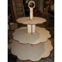Porta Cupcakes Torre 3 Bandejas En Fibrofacil Corte Laser