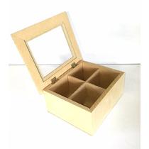 Caja De Te X 4 Divisiones Con Vidrio - Fibrofacil
