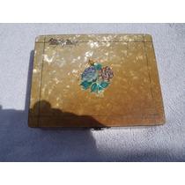 Caja Antigua De Madera (recuerdo) Forrada En Nacar