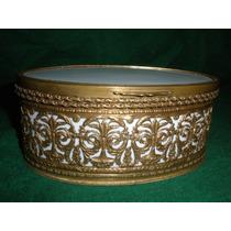 Antiguo Cofre Frances De Bronce Y Porcelana Impecable Estado