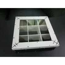 Caja De Te, 9 Compartimientos, Pintada A Mano, Con Vidrio.