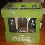 Cajón Coca Cola + 6 Botellas Llenas Edicion Historica Verde
