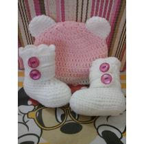 Botitas Escarpines Con Gorro Conjunto Tejido A Crochet