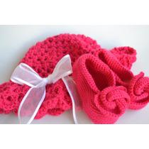 Set De Capelina Y Ballerinas Al Crochet (para Bebé)