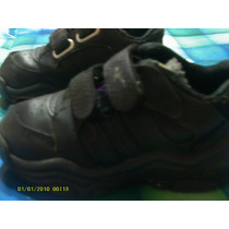Zapatillas Cuero Para Niño N° 22 En Color Negra (fila)