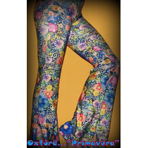Calza/leggins Oxford Lycra /flores/palmera Primavera/divinas