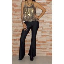 Calzas Mujer Oxford Brillosas Lycra Negra