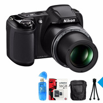 Nikon Coolpix L340 Supera L330 28x 20mp+ 16g C10+ Bolso Y +!
