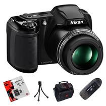 Nikon L340 Reemp. L330 20.2 Hd+ 16gb+ Trip.+ Lector+ Bolso!!