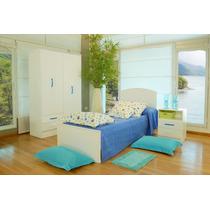 Dormitorio Juvenil Cama+mesa Luz+placard 4 Puertas Mosconi!!