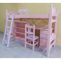 Juego Dormitorio Infantil Cama Escritorio Biblioteca Silla