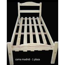 Cama 1 Plaza Madrid En Madera De Pino - Oferta!