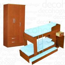 Cama Cucheta 1 Plaza Triple Triliche + Placard 3 Pta Mosconi