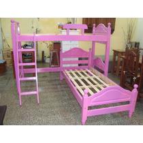 Cama En L,cama Rinconera,superpuesta En Pino Pintada