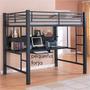 Cama Alta Loft Reforzada Cama Estudio De Hierro Escritorio