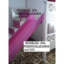 Cama Puente Princesas +tobogán +escaleracajonera. Laca