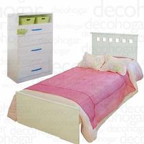 Dormitorio Juvenil Cama + Chifonier 5 Cajones 1 Pta Mosconi