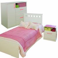 Dormitorio Juvenil Cama + Mesita De Luz + Comoda Mosconi