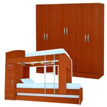 Juego Dormitorio Cama Cucheta Triple + Placard 26 - Caoba