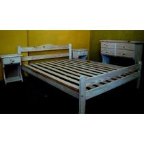 Juego Dormitorio Cama 2 Plazas Comoda Mesas Luz Pino Nuevo