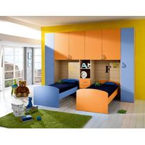 Dormitorio Juvenil, Dos Camas + Amplio Ropero